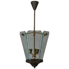 Brass Lantern or Ceiling Lamp Attributed to Pietro Chiesa & Fontana Arte, Italy