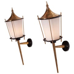 Brass 'Lantern' Sconces by Maison Arlus, 1970s