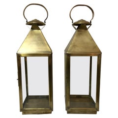 Brass Lanterns or Candleholder for Garden or Indoor, a Pair