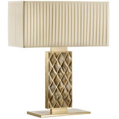 Brass Large Rectangular Table Lamp