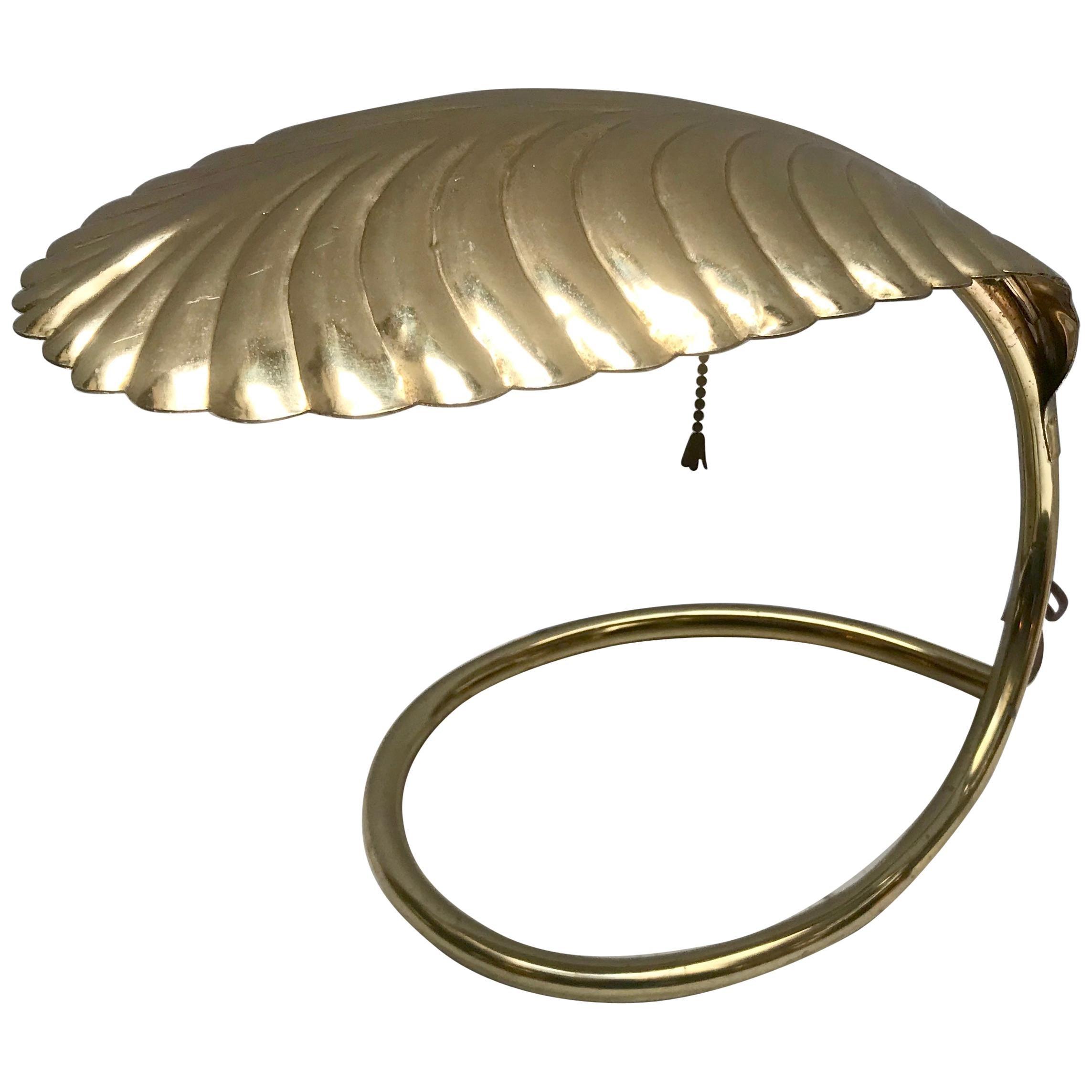 Brass Leaf Decorative Table Lamp, Tommaso Barbi, 1960