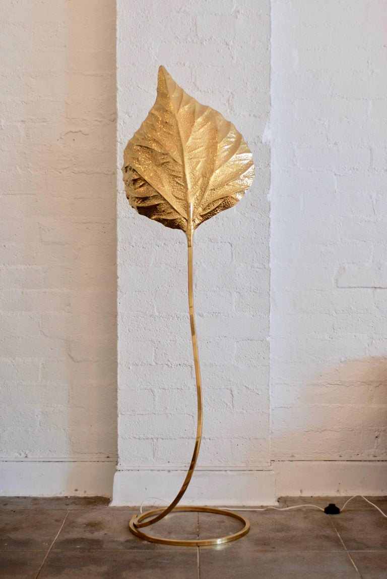 A 1970s era brass leaf floor lamp by the Italian designer Tommaso Barbi. He was known for his quality organic inspired lighting designs. 