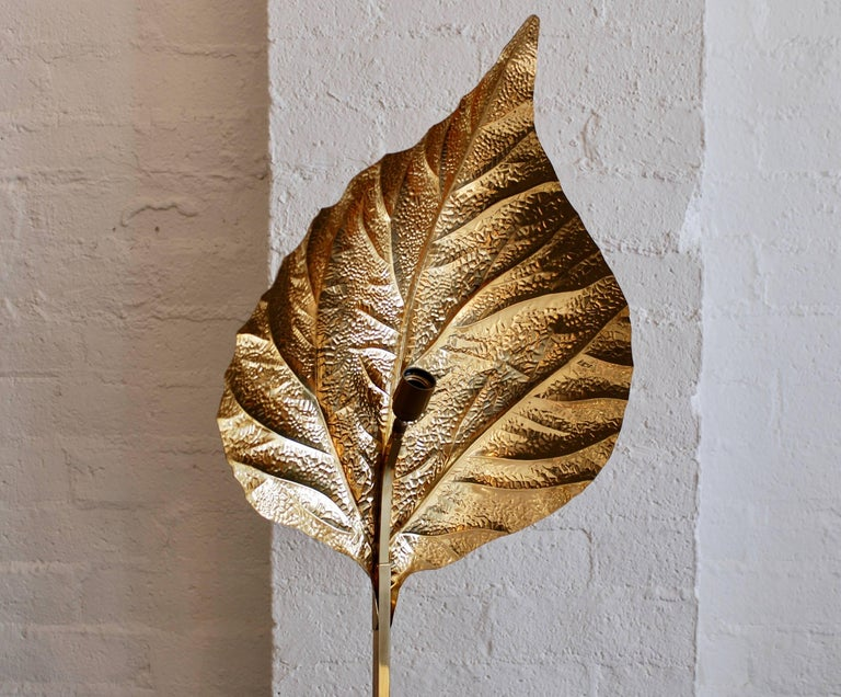 Brass Leaf Floor Lamp by Tommaso Barbi For Sale 1
