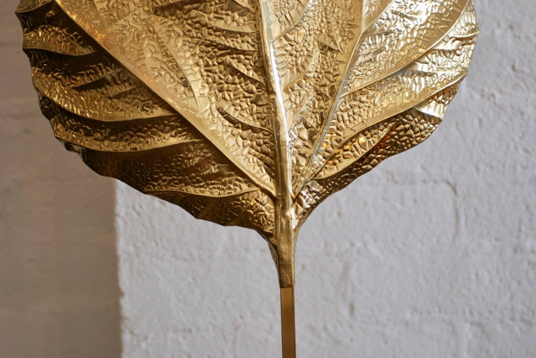 Brass Leaf Floor Lamp by Tommaso Barbi For Sale 3