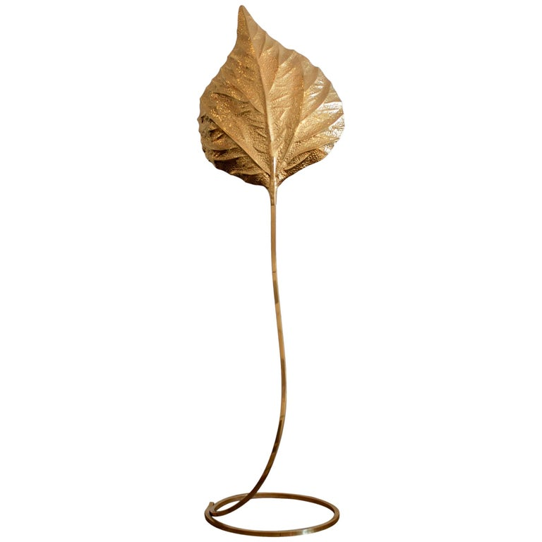 Brass Leaf Floor Lamp by Tommaso Barbi For Sale