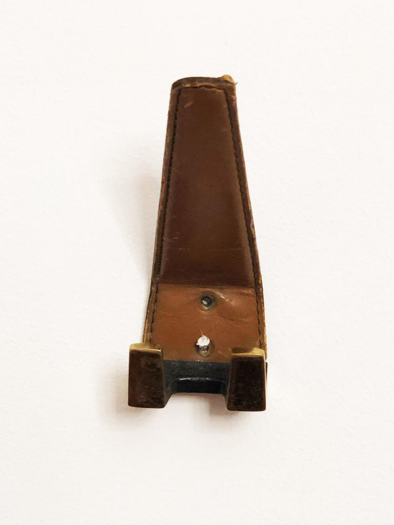 Mid-Century Modern Brass Leather Wall Hooks  For Sale