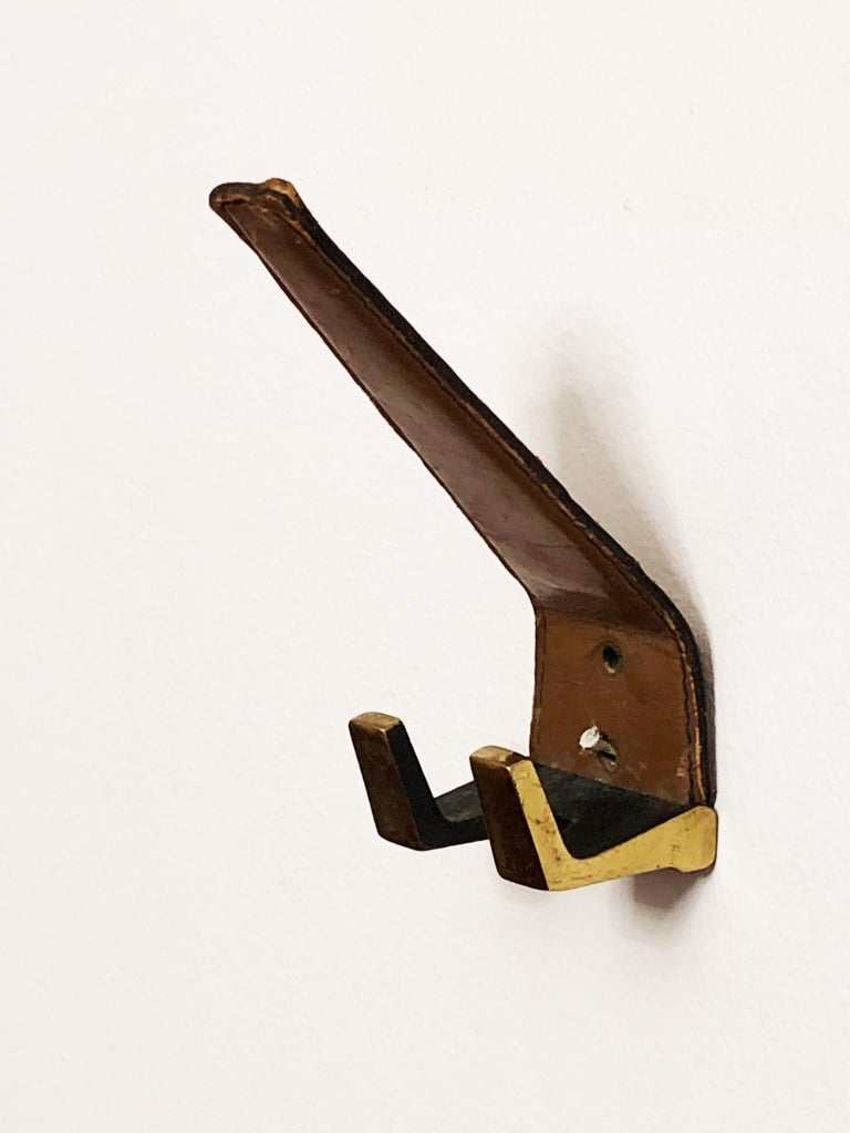 Ebonized Brass Leather Wall Hooks  For Sale