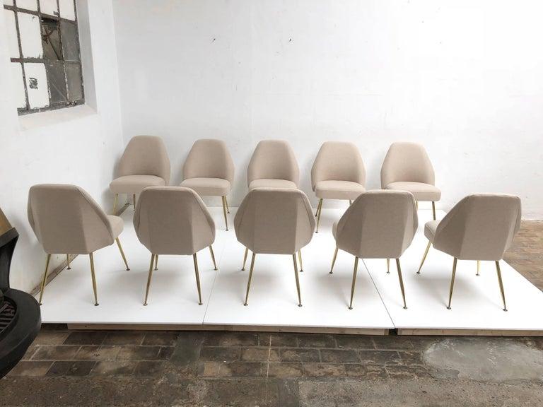Italian Brass Leg Chairs by Pagani, Partner of Gio Ponti & Linda Bo Bardi, 1952, Arflex