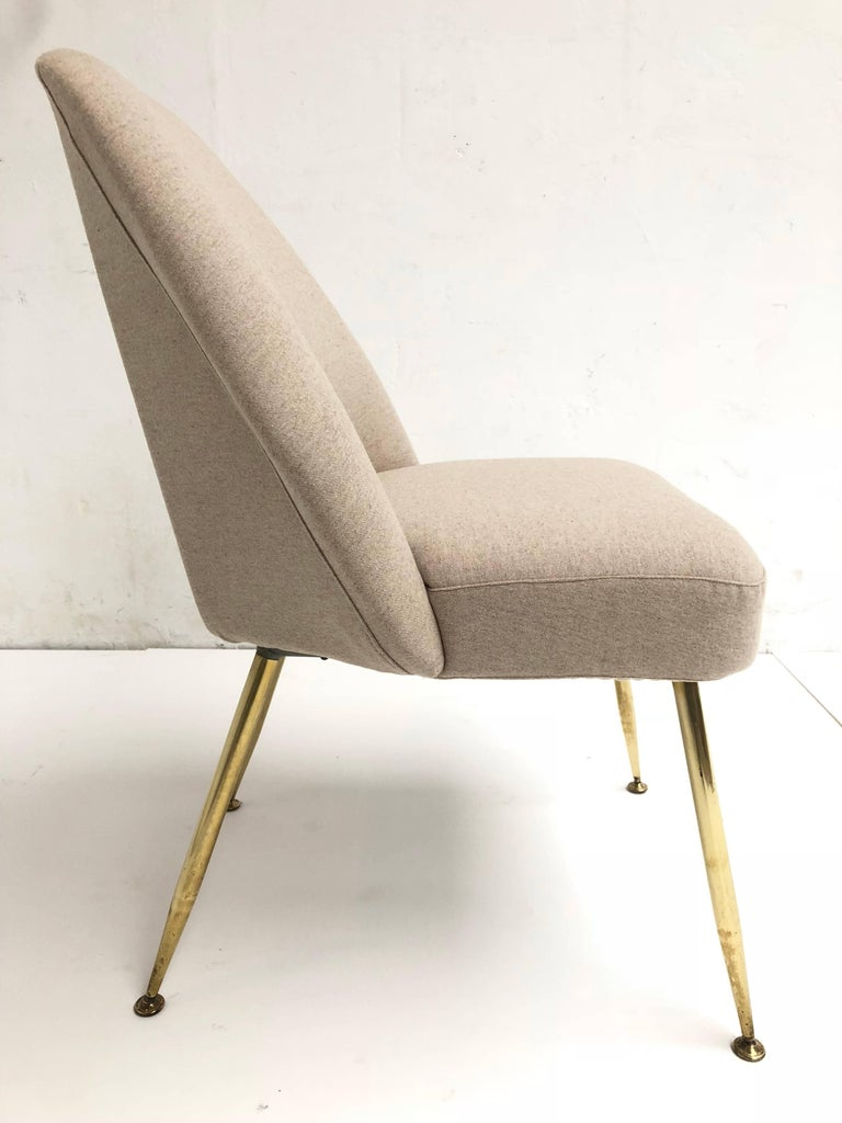 Brass Leg Chairs by Pagani, Partner of Gio Ponti & Linda Bo Bardi, 1952, Arflex For Sale 3