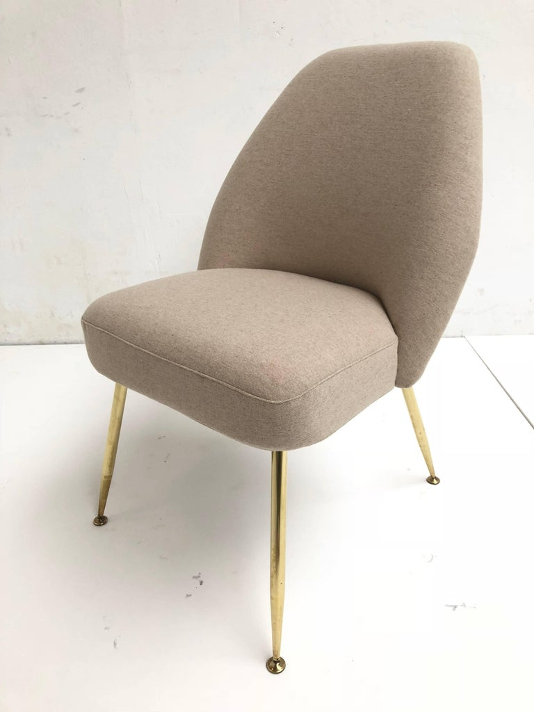 Brass Leg Chairs by Pagani, Partner of Gio Ponti & Linda Bo Bardi, 1952, Arflex For Sale 5