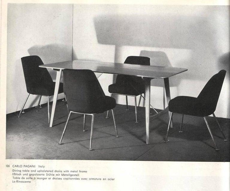 Brass Leg Chairs by Pagani, Partner of Gio Ponti & Linda Bo Bardi, 1952, Arflex For Sale 8