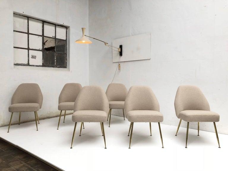 Mid-Century Modern Brass Leg Chairs by Pagani, Partner of Gio Ponti & Linda Bo Bardi, 1952, Arflex For Sale