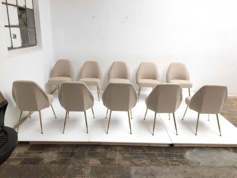 Italian Brass Leg Chairs by Pagani, Partner of Gio Ponti & Linda Bo Bardi, 1952, Arflex For Sale