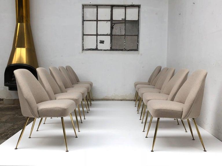 Enameled Brass Leg Chairs by Pagani, Partner of Gio Ponti & Linda Bo Bardi, 1952, Arflex For Sale