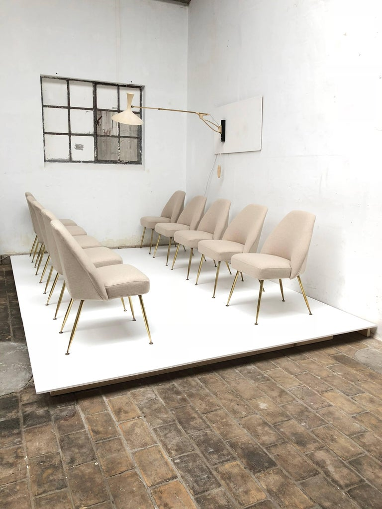 Brass Leg Chairs by Pagani, Partner of Gio Ponti & Linda Bo Bardi, 1952, Arflex In Good Condition For Sale In bergen op zoom, NL