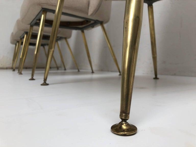 Mid-20th Century Brass Leg Chairs by Pagani, Partner of Gio Ponti & Linda Bo Bardi, 1952, Arflex For Sale