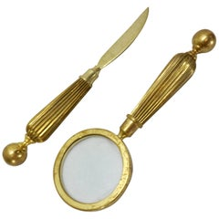 Brass Letter Opener and Magnifying Glass