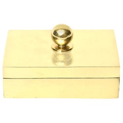 Brass Lidded Box with Ball Vintage