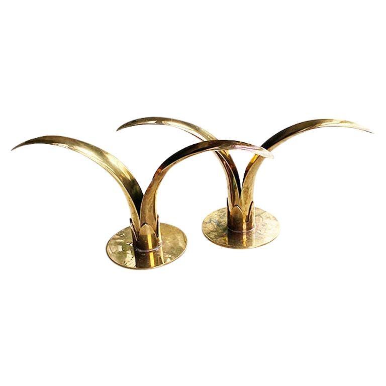 Brass Lily Candleholders Attr. to Ivar Åhlenius Björk for Ystad-Metall, a Pair