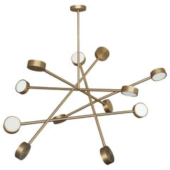 "Brass ""Line Chaos"" Chandelier, Square in Circle"