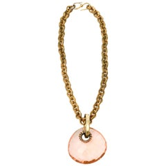 Brass Link Chain and Diamond Faceted Glass Pendant Necklace Italian