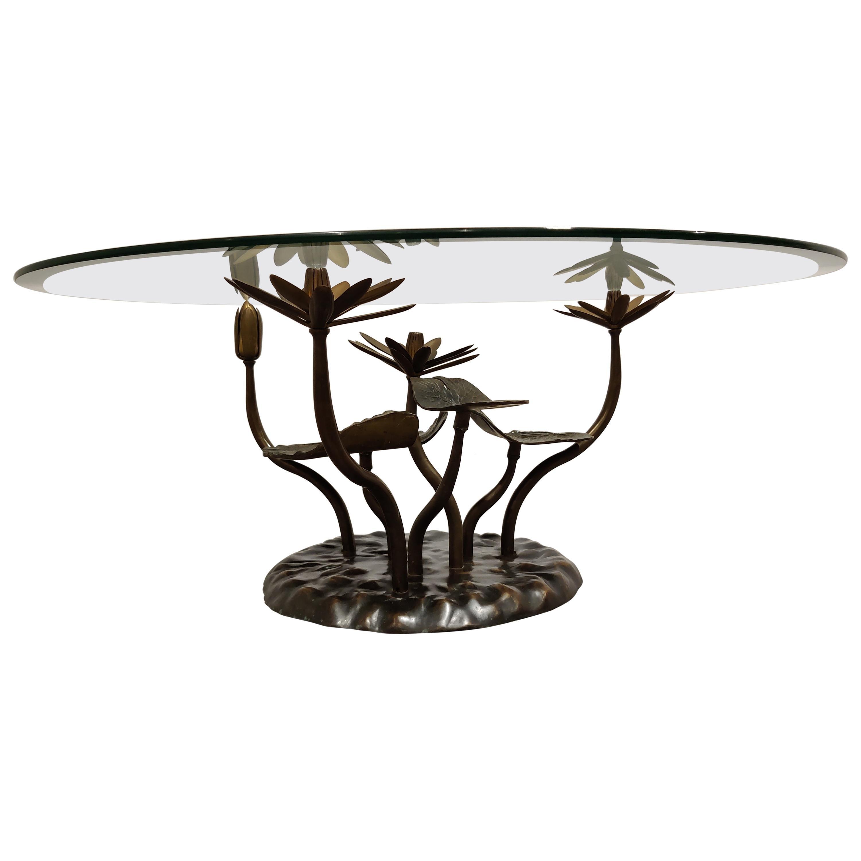 Brass Lotus Coffee Table Attr. Willy Daro, 1970s