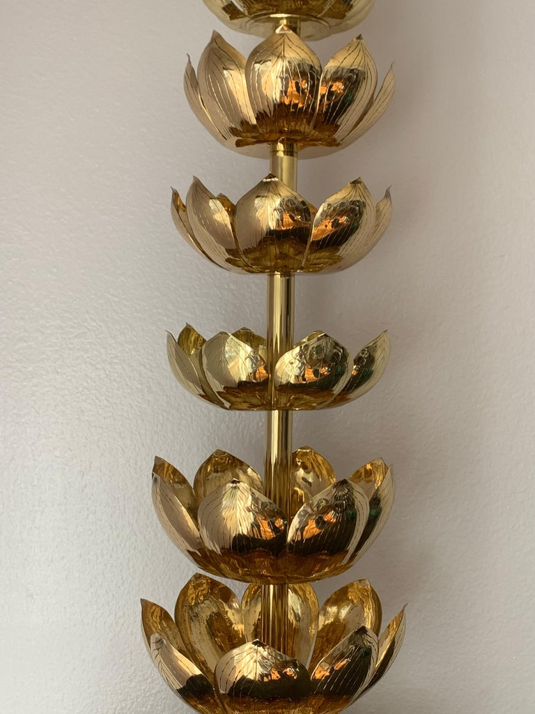 Polished Brass Lotus Lamp For Sale