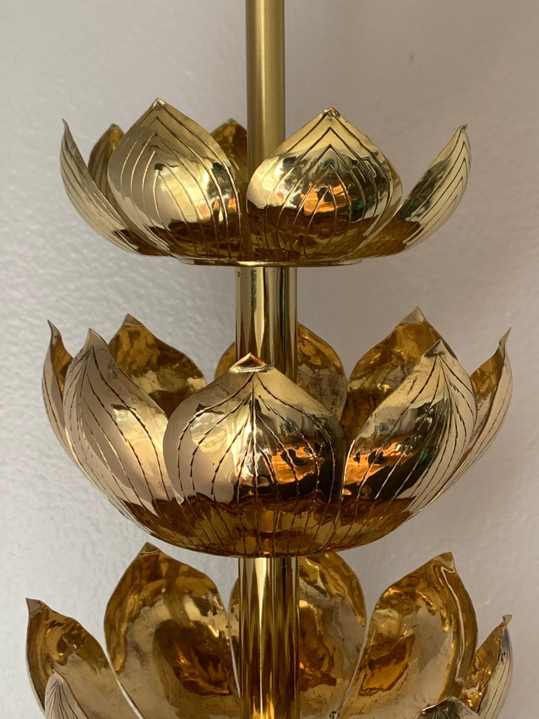 Brass Lotus Lamp For Sale 3