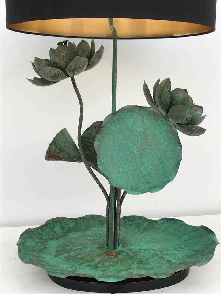 Brass Lotus Lamp in Verdigris Patina For Sale 4