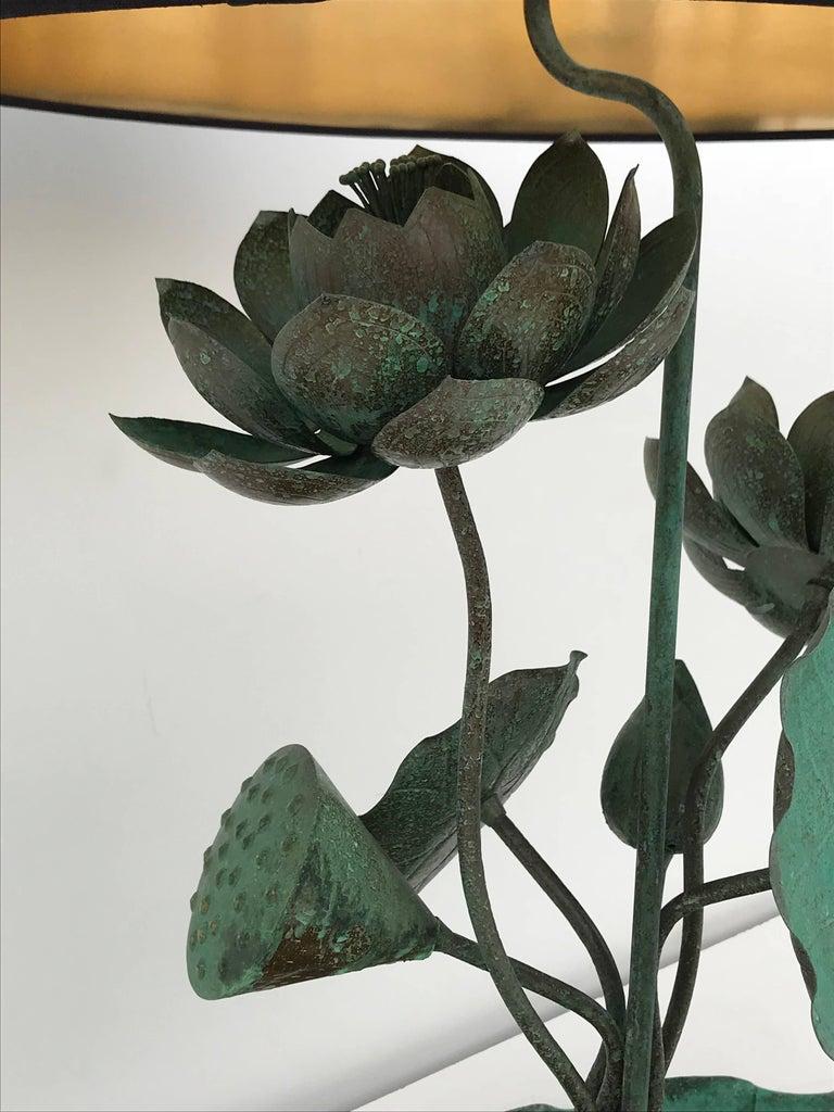 Brass Lotus Lamp in Verdigris Patina For Sale 5