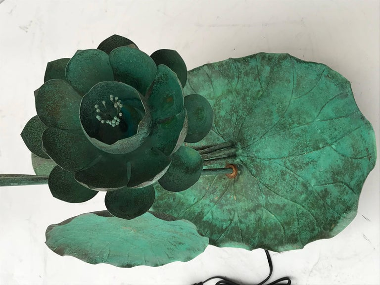 Brass Lotus Lamp in Verdigris Patina For Sale 7