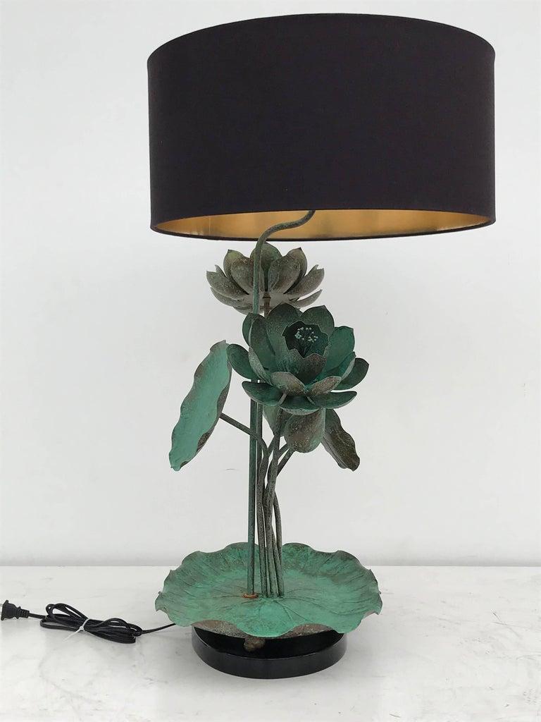 Brass Lotus Lamp in Verdigris Patina For Sale 8