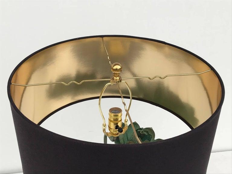 Brass Lotus Lamp in Verdigris Patina For Sale 9