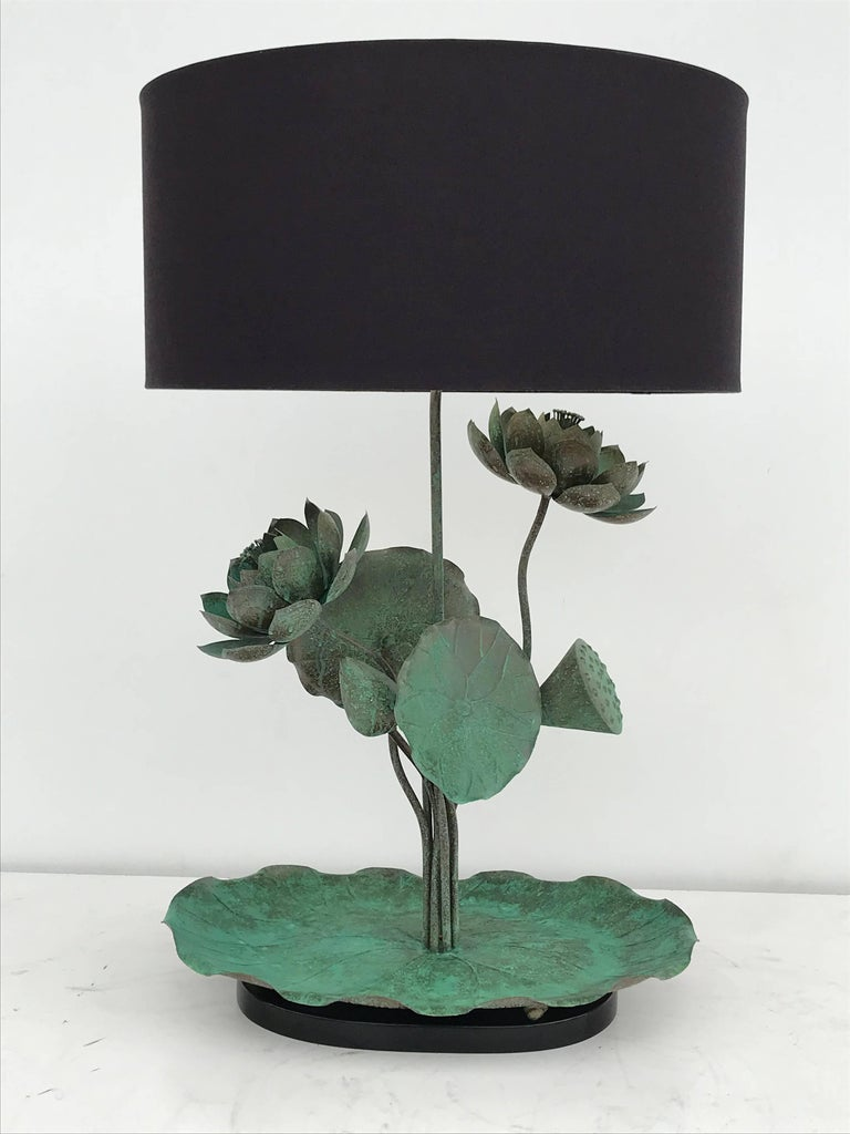 Brass lotus lamp in Verdigris patina. Lamp shade shown (not included) is 18