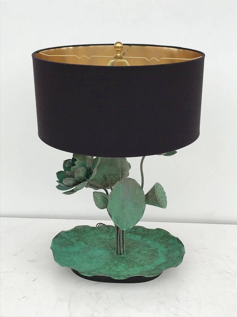 Mid-Century Modern Brass Lotus Lamp in Verdigris Patina For Sale