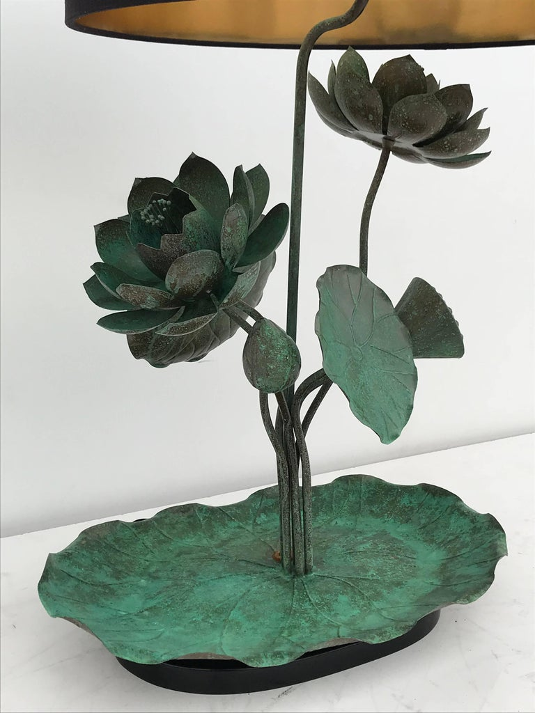 Patinated Brass Lotus Lamp in Verdigris Patina For Sale