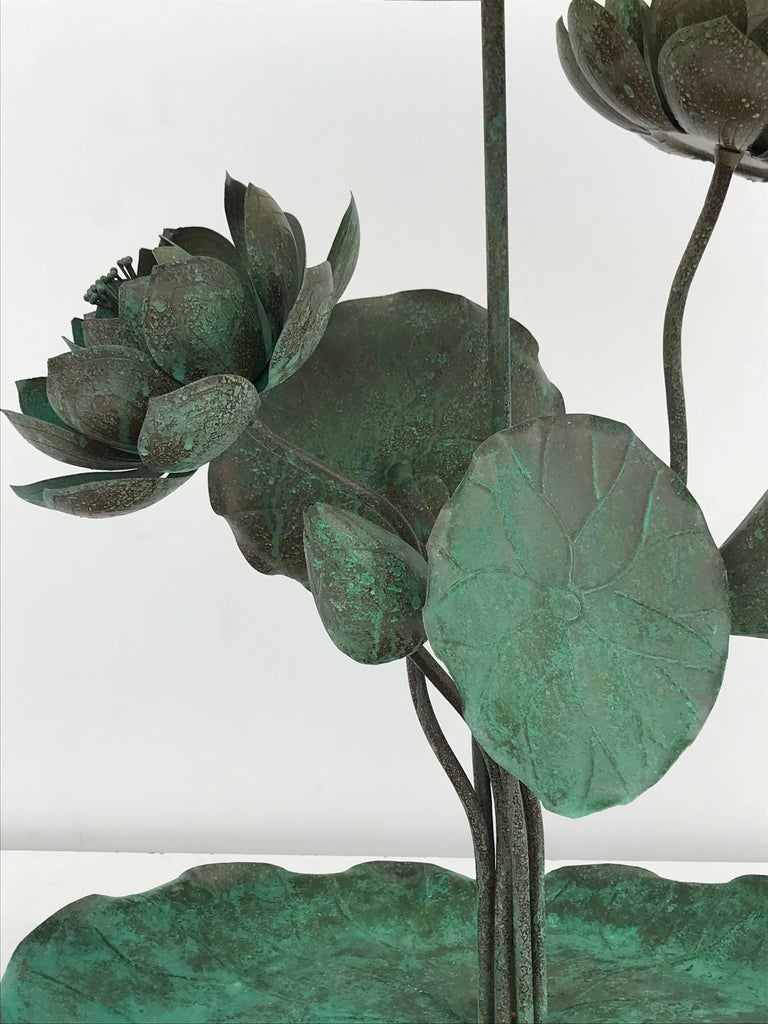 Brass Lotus Lamp in Verdigris Patina In Excellent Condition For Sale In North Hollywood, CA