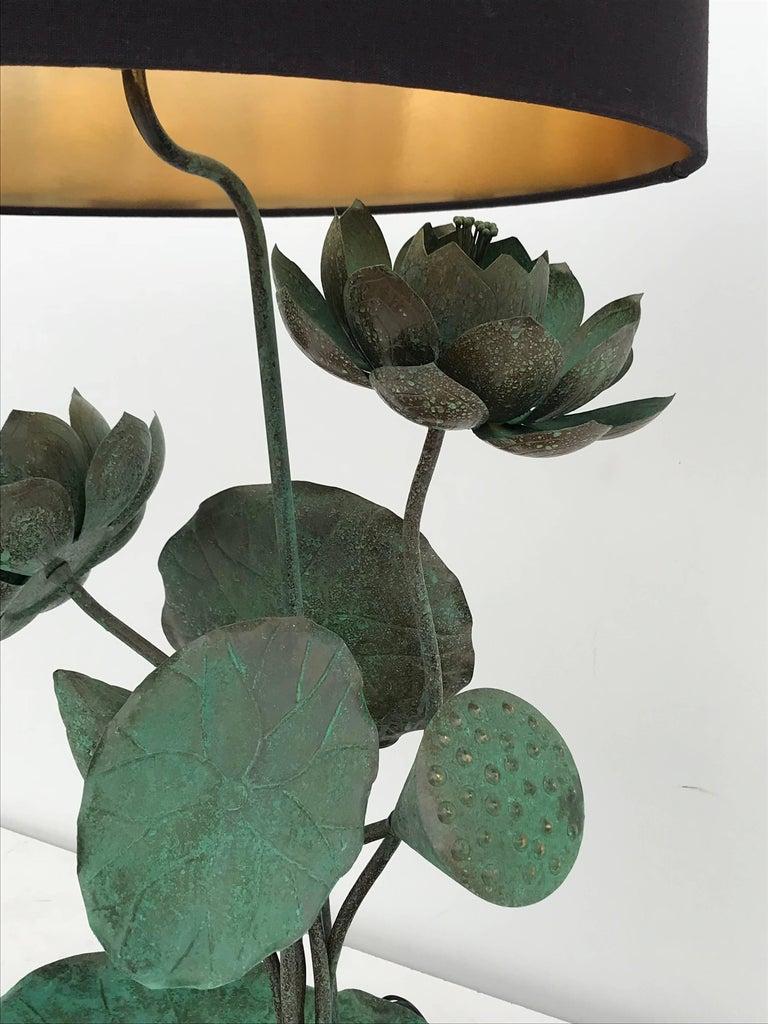 Mid-20th Century Brass Lotus Lamp in Verdigris Patina For Sale