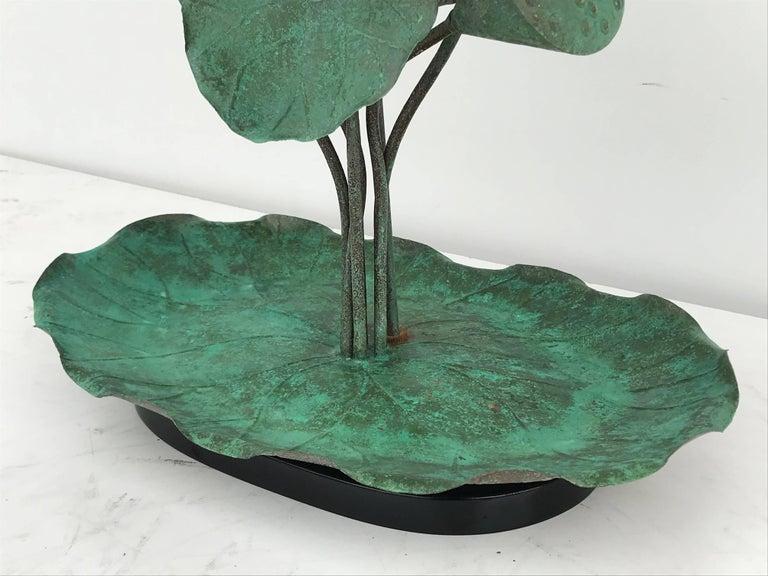 Brass Lotus Lamp in Verdigris Patina For Sale 1