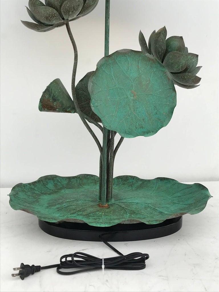Brass Lotus Lamp in Verdigris Patina For Sale 2