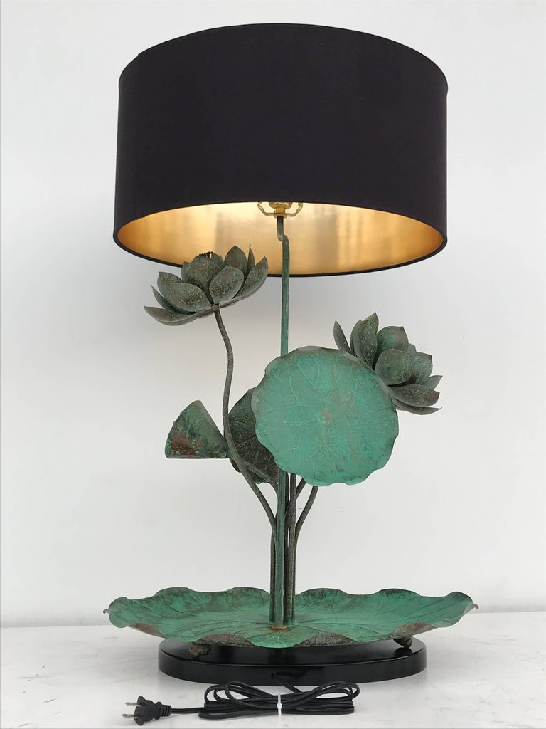Brass Lotus Lamp in Verdigris Patina For Sale 3