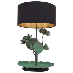 Brass Lotus Lamp in Verdigris Patina