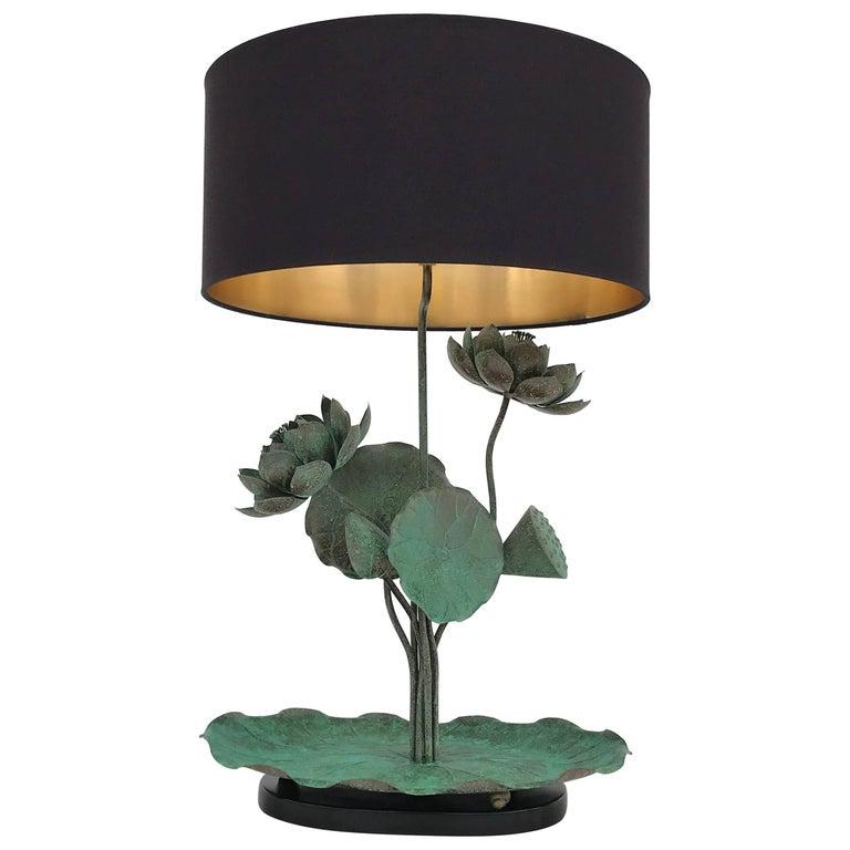 Brass Lotus Lamp in Verdigris Patina For Sale