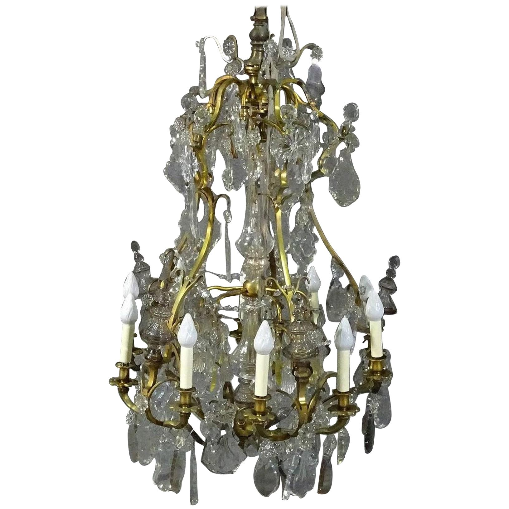 Brass Louis XVI Style 1930s Crystal Pendant Chandelier with Crystal Spires