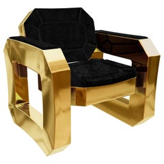Brass Lounge Chair with Black Velvet Upholstery