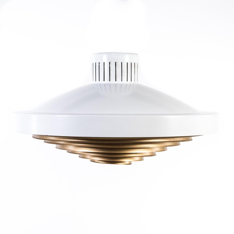 Larger flush mount / ceiling lamp (4 available) by Finnish designer Lisa Johansson-Pape (1907-1989) with brass louvered diffuser made by Finnish manufacturer Stockman Orno circa late 1960.   Diameter 44 cm x H: 21 cm.  1 x light bulb max. 100W.