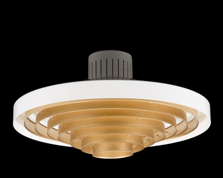 Scandinavian Modern Brass Louvered Diffuser Flush Mount by Lisa Johansson-Pape by Orno Finland For Sale