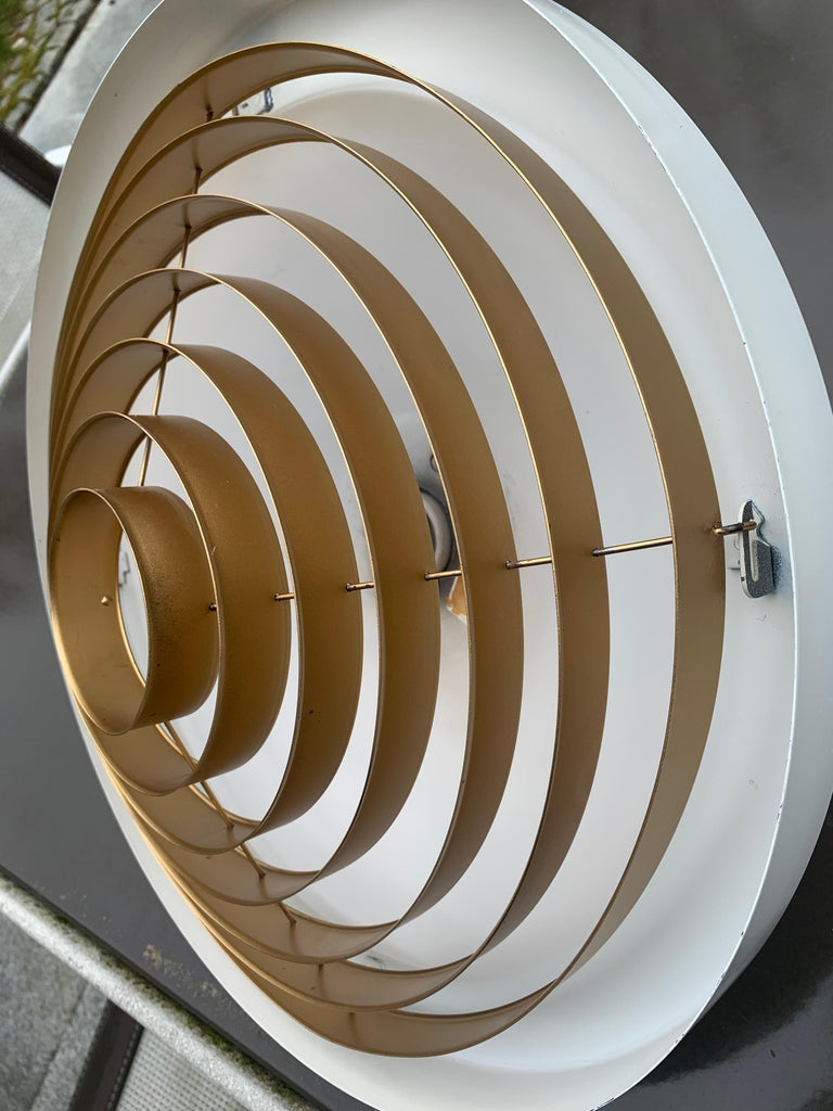 Finnish Brass Louvered Diffuser Flush Mount by Lisa Johansson-Pape by Orno Finland For Sale