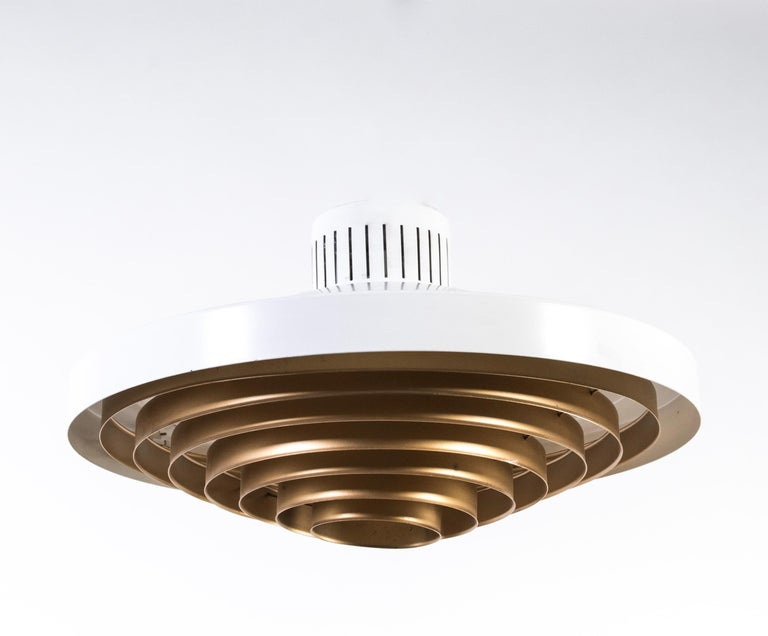 Aluminum Brass Louvered Diffuser Flush Mount by Lisa Johansson-Pape by Orno Finland For Sale