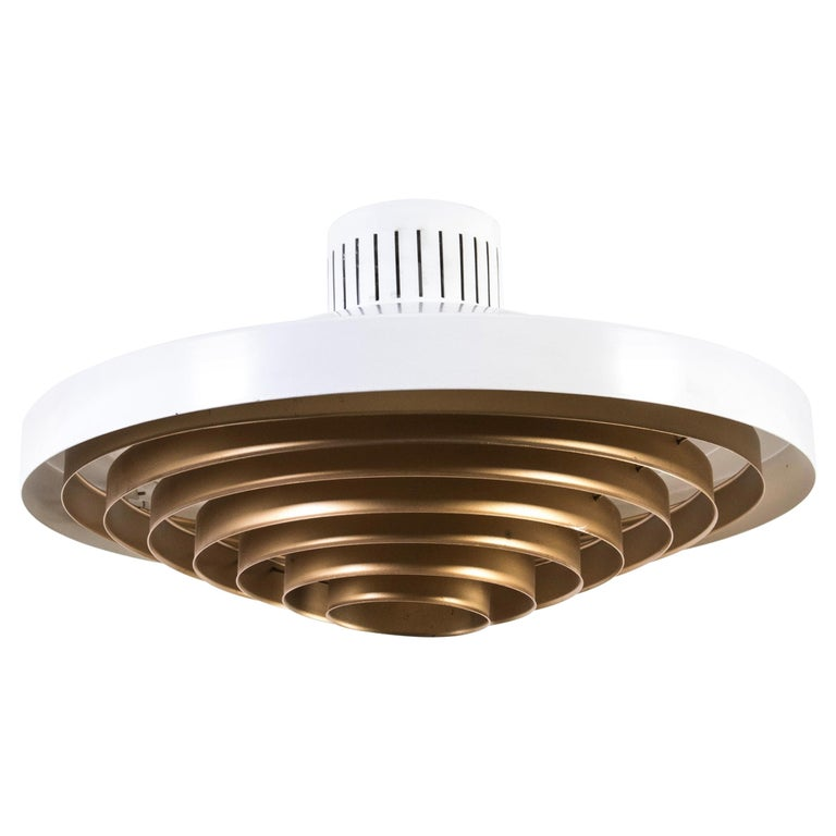 Brass Louvered Diffuser Flush Mount by Lisa Johansson-Pape by Orno Finland For Sale